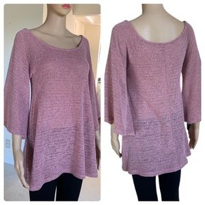 Mauve Easel Knit Flowy Top, Bell Sleeves, Sz Small